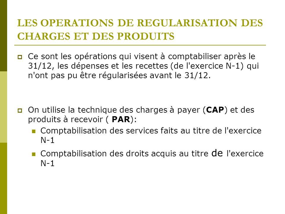 LES OPERATIONS DE REGULARISATION DES CHARGES ET DES PRODUITS Ce sont les opérations qui visent à comptabiliser après le 31/12, les dépenses et les rec
