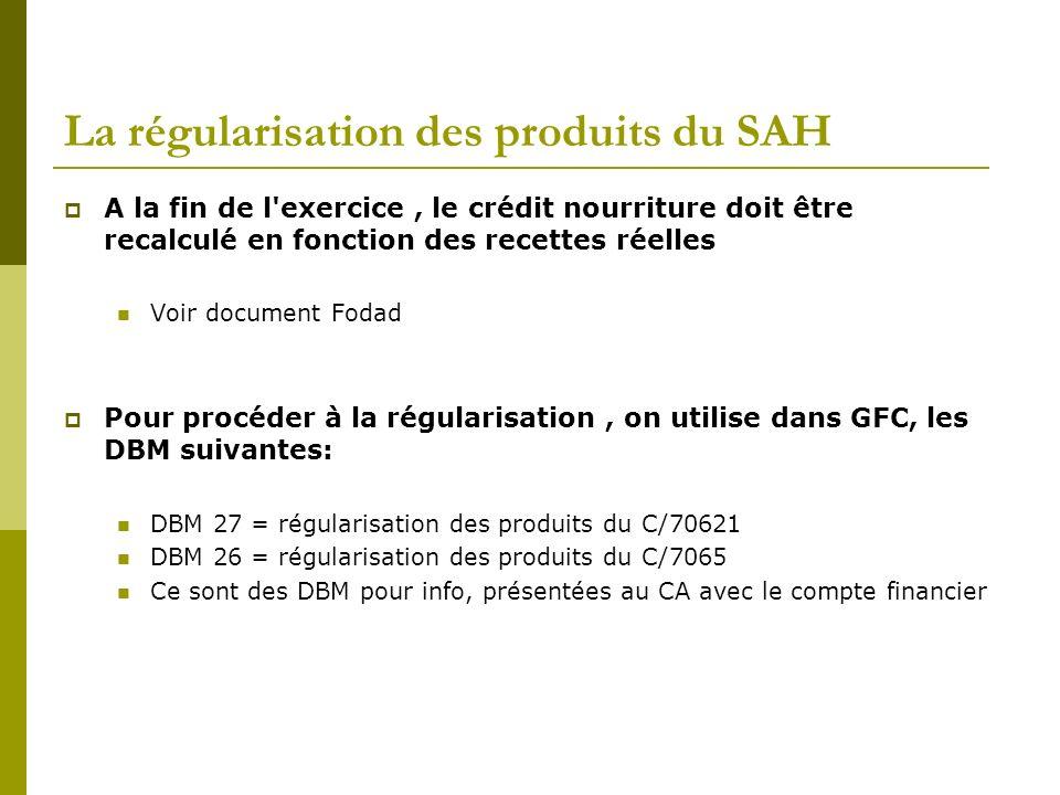 La régularisation des produits du SAH A la fin de l'exercice, le crédit nourriture doit être recalculé en fonction des recettes réelles Voir document