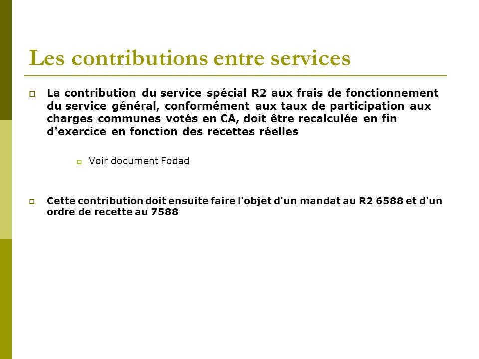 Les contributions entre services La contribution du service spécial R2 aux frais de fonctionnement du service général, conformément aux taux de partic