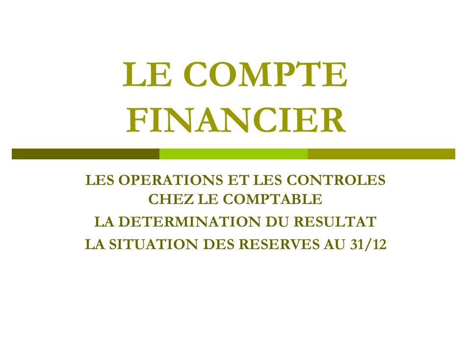 LE COMPTE FINANCIER LES OPERATIONS ET LES CONTROLES CHEZ LE COMPTABLE LA DETERMINATION DU RESULTAT LA SITUATION DES RESERVES AU 31/12