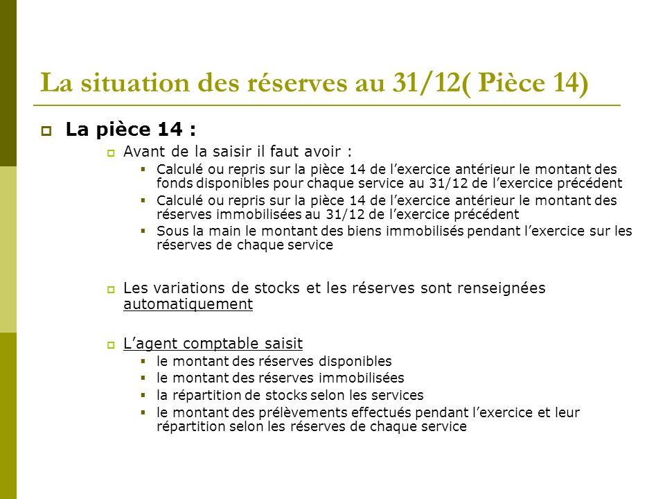 La situation des réserves au 31/12( Pièce 14) La pièce 14 : Avant de la saisir il faut avoir : Calculé ou repris sur la pièce 14 de lexercice antérieu