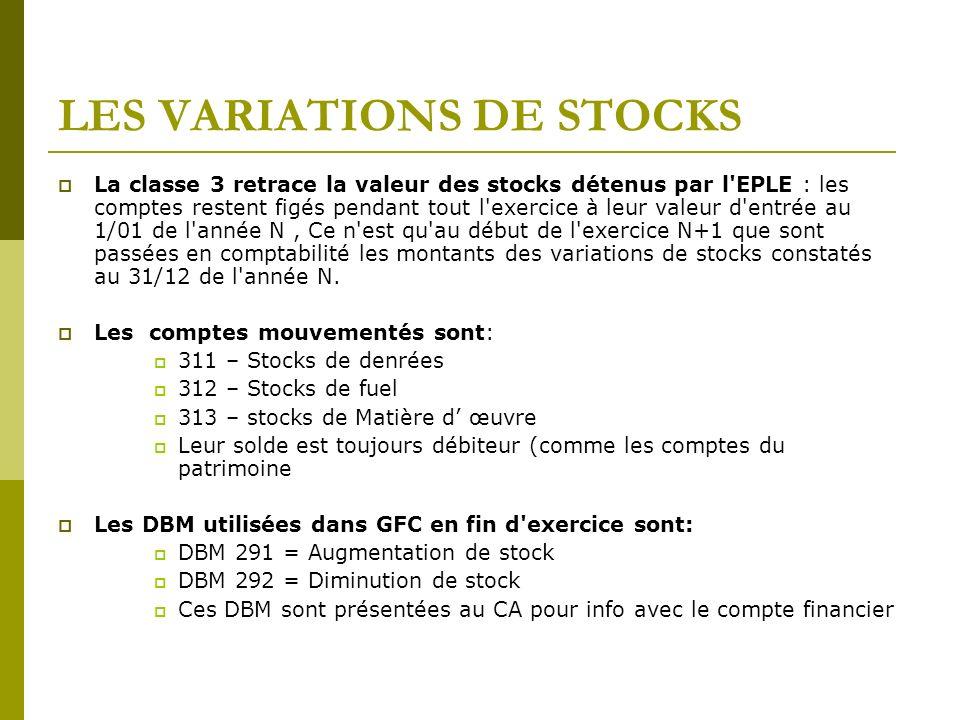 LES VARIATIONS DE STOCKS La classe 3 retrace la valeur des stocks détenus par l'EPLE : les comptes restent figés pendant tout l'exercice à leur valeur