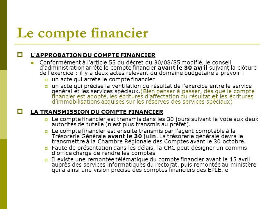 Le compte financier L'APPROBATION DU COMPTE FINANCIER Conformément à l'article 55 du décret du 30/08/85 modifié, le conseil d'administration arrête le