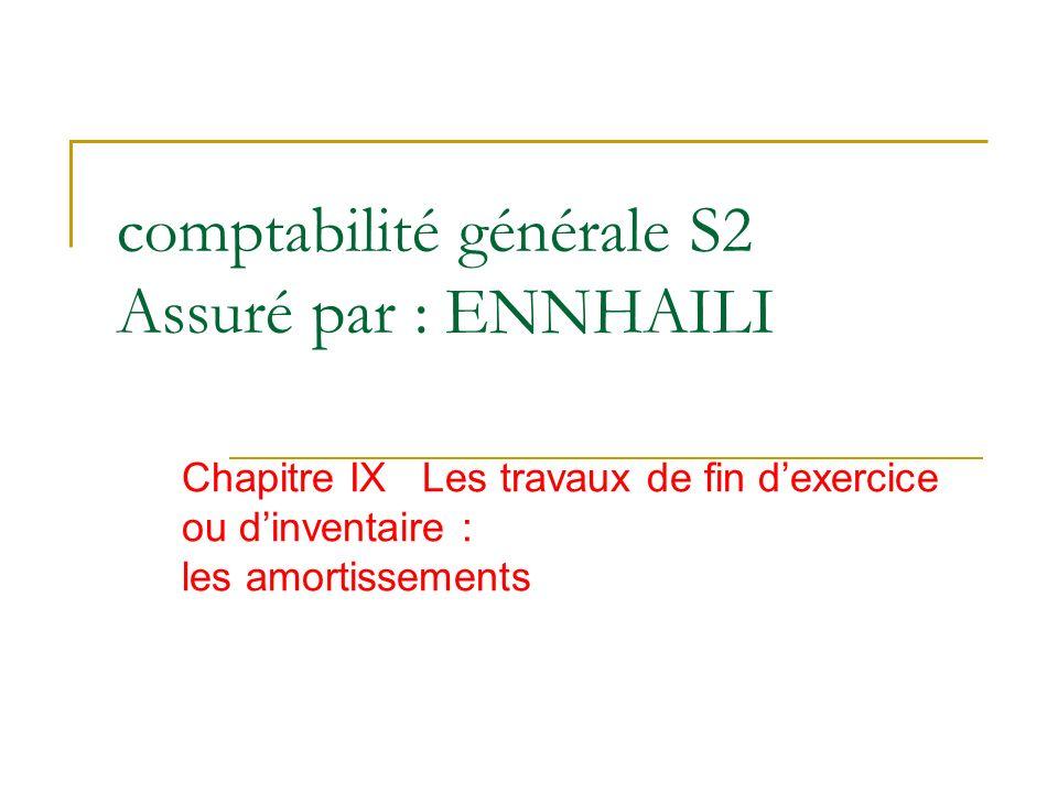 comptabilité générale S2 Assuré par : ENNHAILI Chapitre IX Les travaux de fin dexercice ou dinventaire : les amortissements