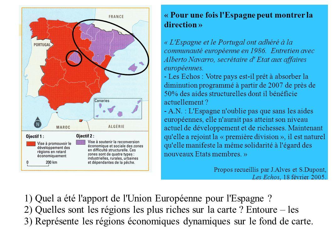 « Pour une fois l Espagne peut montrer la direction » « L Espagne et le Portugal ont adhéré à la communauté européenne en 1986.