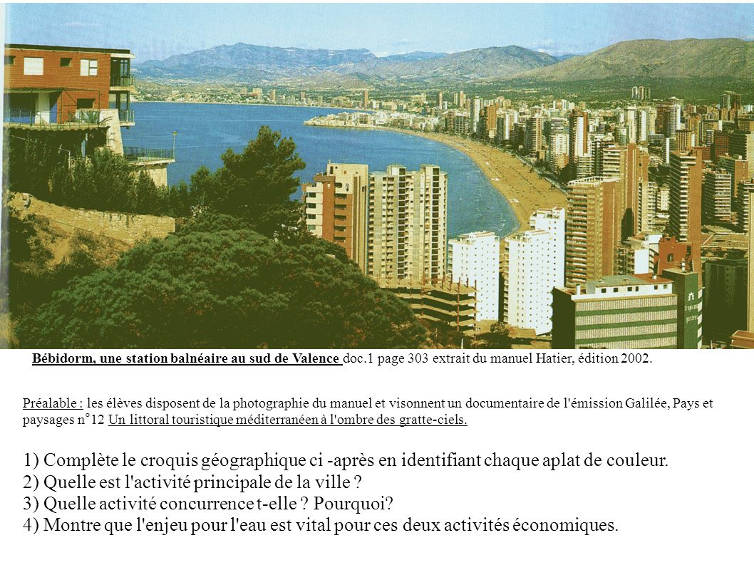 Bébidorm, une station balnéaire au sud de Valence doc.1 page 303 extrait du manuel Hatier, édition 2002.