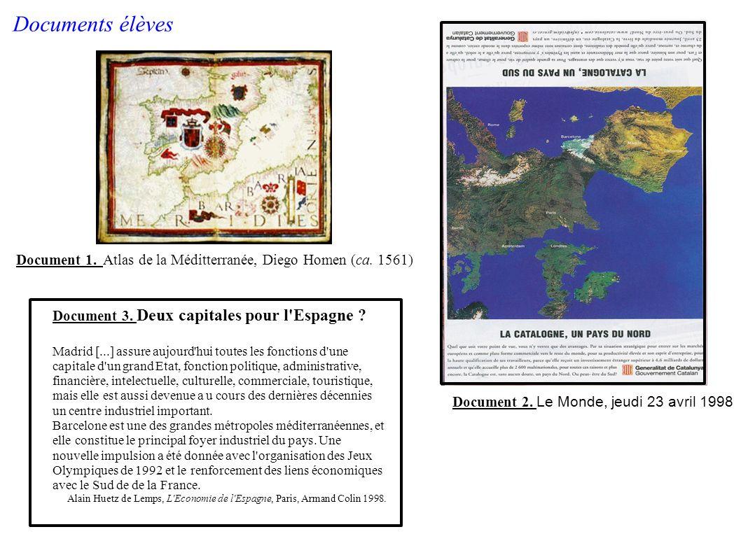 Document 1. Atlas de la Méditterranée, Diego Homen (ca. 1561) Document 3. Deux capitales pour l'Espagne ? Madrid [...] assure aujourd'hui toutes les f
