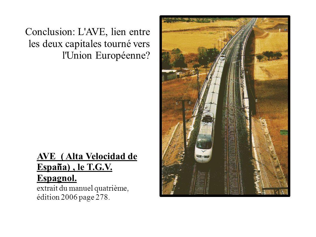 Conclusion: L AVE, lien entre les deux capitales tourné vers l Union Européenne.