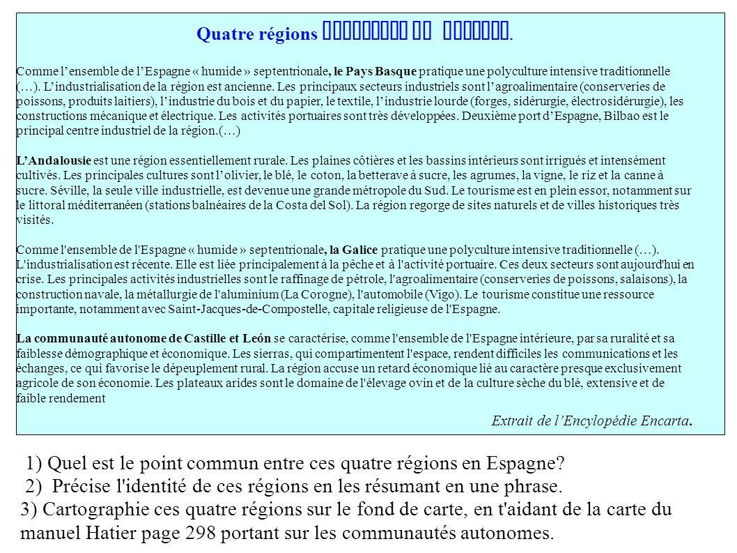 Quatre régions autonomes en Espagne.