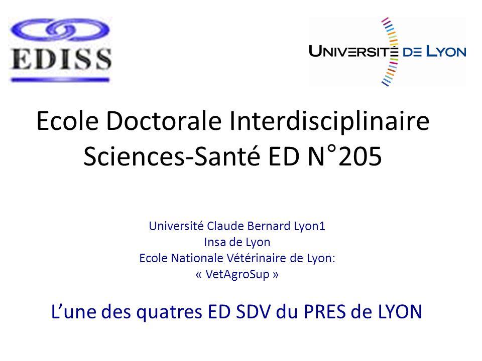 Les doctorants de lEDISS dans le PRES de Lyon (17 ED dont 4 SDV) EDISS représente 20% du nb des doctorants du PRES DE Lyon EDISS représente 35% du nb des doctorants des SDV Nouveaux Inscrits 2008-2009 : 96/1226 7.8 % Soutenance 2009 : 81/805 10 % (la moyenne est proche de 60) 7.5% Formation à linsertion : 83/900 9 %
