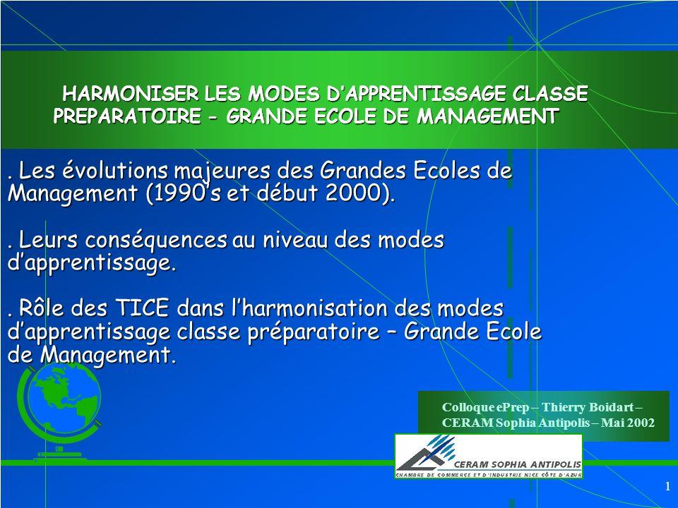 1.Les évolutions majeures des Grandes Ecoles de Management (1990s et début 2000)..