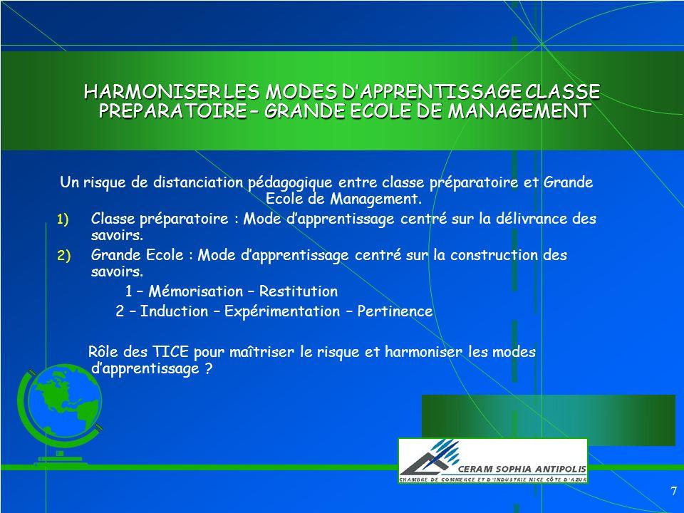 7 HARMONISER LES MODES DAPPRENTISSAGE CLASSE PREPARATOIRE – GRANDE ECOLE DE MANAGEMENT Un risque de distanciation pédagogique entre classe préparatoire et Grande Ecole de Management.