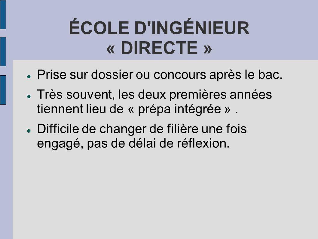 ÉCOLE D'INGÉNIEUR « DIRECTE » Prise sur dossier ou concours après le bac. Très souvent, les deux premières années tiennent lieu de « prépa intégrée ».