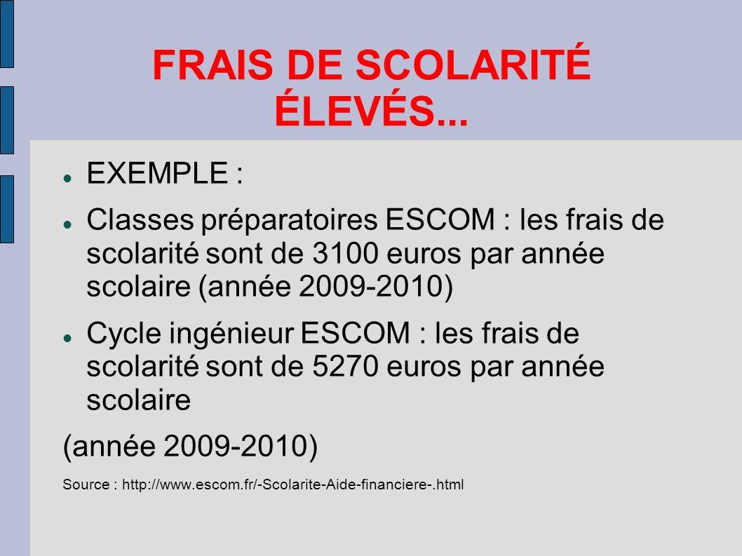 FRAIS DE SCOLARITÉ ÉLEVÉS... EXEMPLE : Classes préparatoires ESCOM : les frais de scolarité sont de 3100 euros par année scolaire (année 2009-2010) Cy
