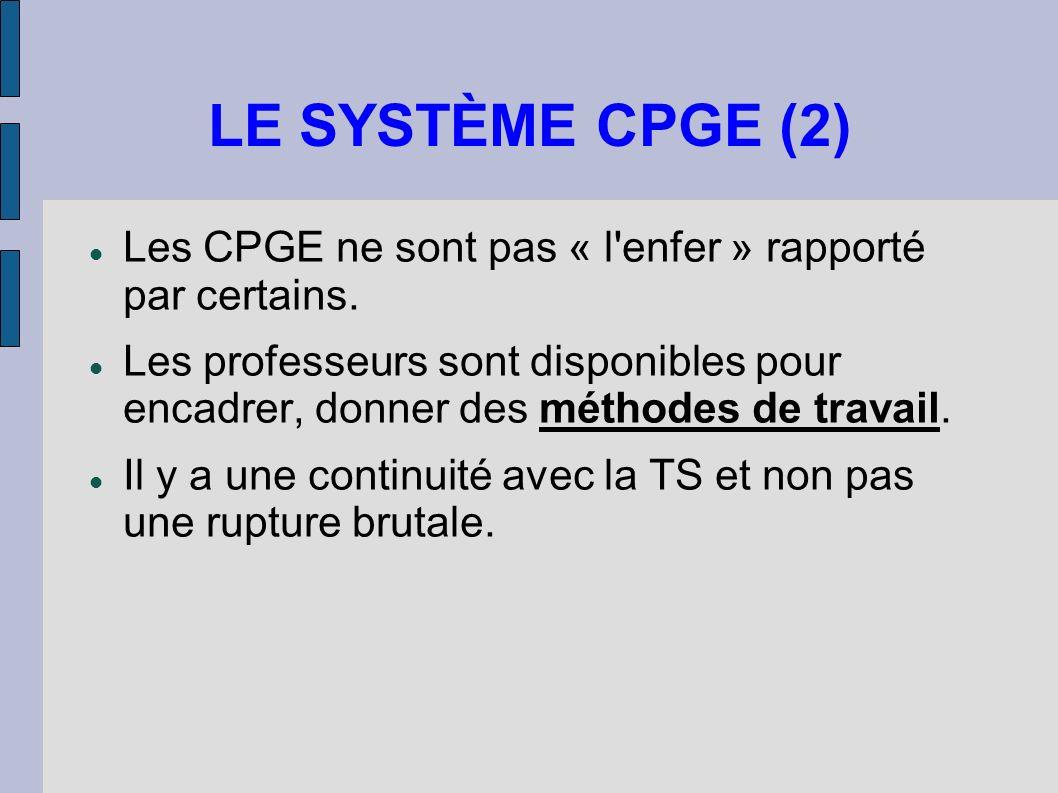 LE SYSTÈME CPGE (2) Les CPGE ne sont pas « l'enfer » rapporté par certains. Les professeurs sont disponibles pour encadrer, donner des méthodes de tra