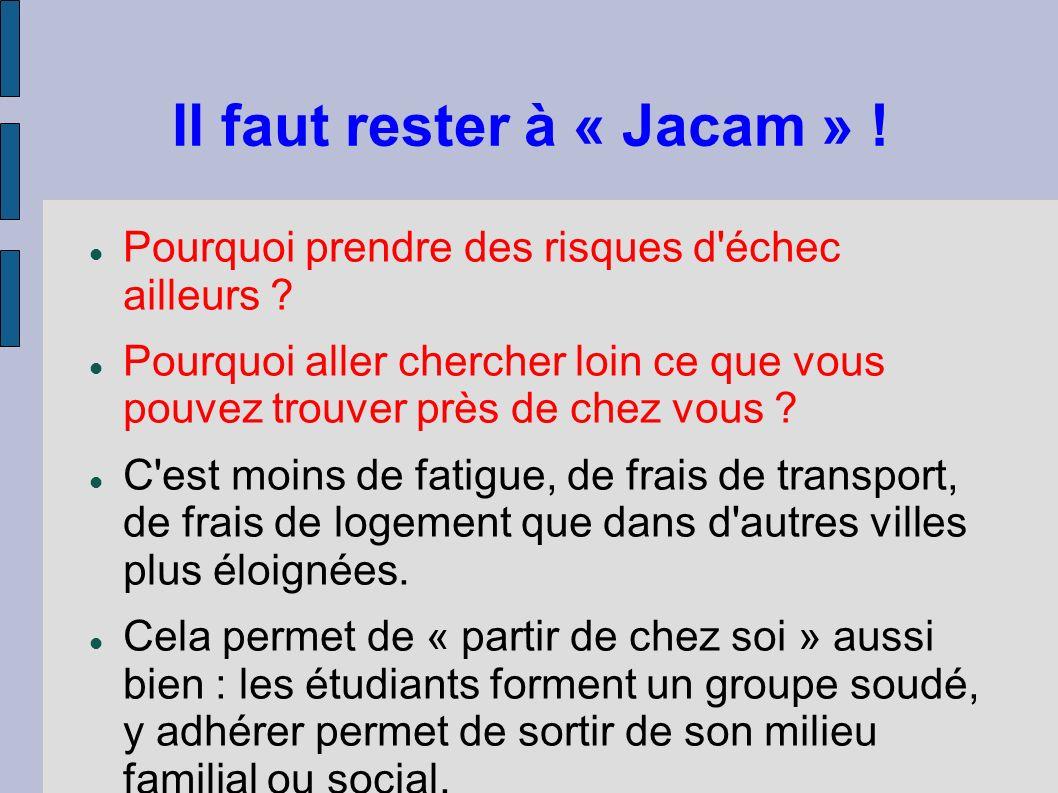 Il faut rester à « Jacam » ! Pourquoi prendre des risques d'échec ailleurs ? Pourquoi aller chercher loin ce que vous pouvez trouver près de chez vous