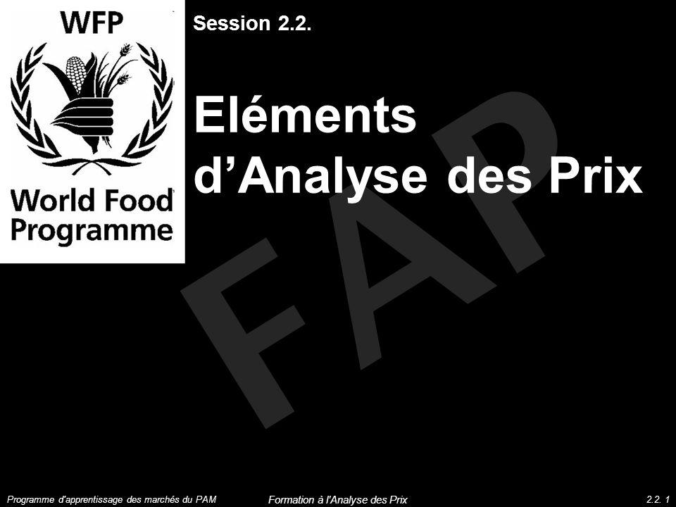 FAP Session 2.2. Eléments dAnalyse des Prix Programme d'apprentissage des marchés du PAM2.2. 1 Formation à l'Analyse des Prix