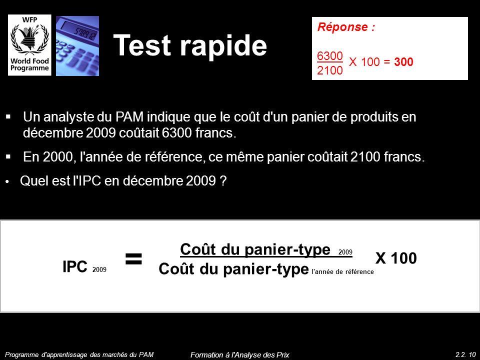 Test rapide IPC 2009 Coût du panier-type 2009 Coût du panier-type l'année de référence = X 100 Un analyste du PAM indique que le coût d'un panier de p