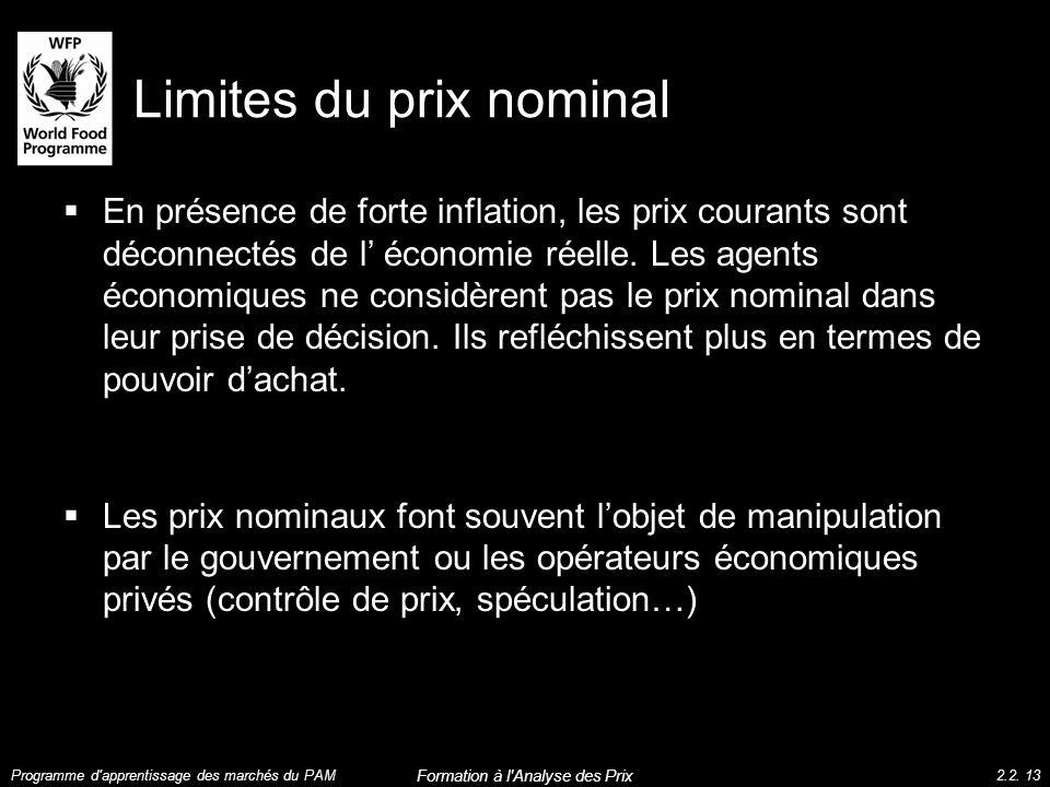 Limites du prix nominal En présence de forte inflation, les prix courants sont déconnectés de l économie réelle. Les agents économiques ne considèrent