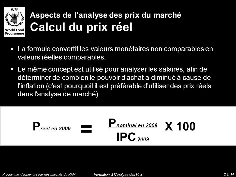 Aspects de l'analyse des prix du marché Calcul du prix réel La formule convertit les valeurs monétaires non comparables en valeurs réelles comparables