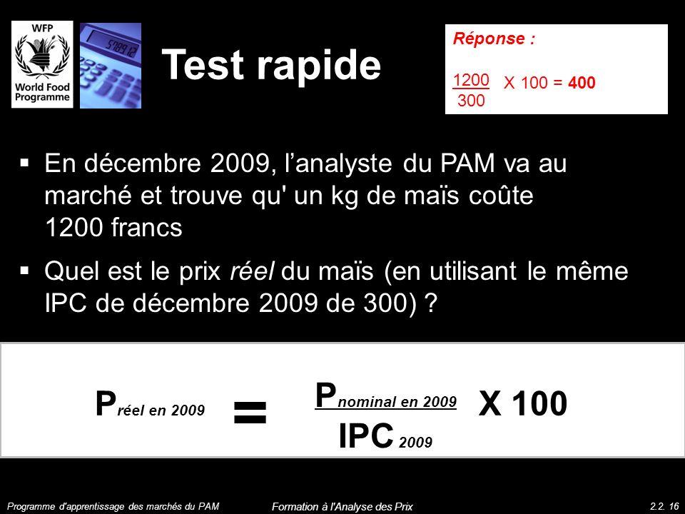 Test rapide En décembre 2009, lanalyste du PAM va au marché et trouve qu' un kg de maïs coûte 1200 francs Quel est le prix réel du maïs (en utilisant