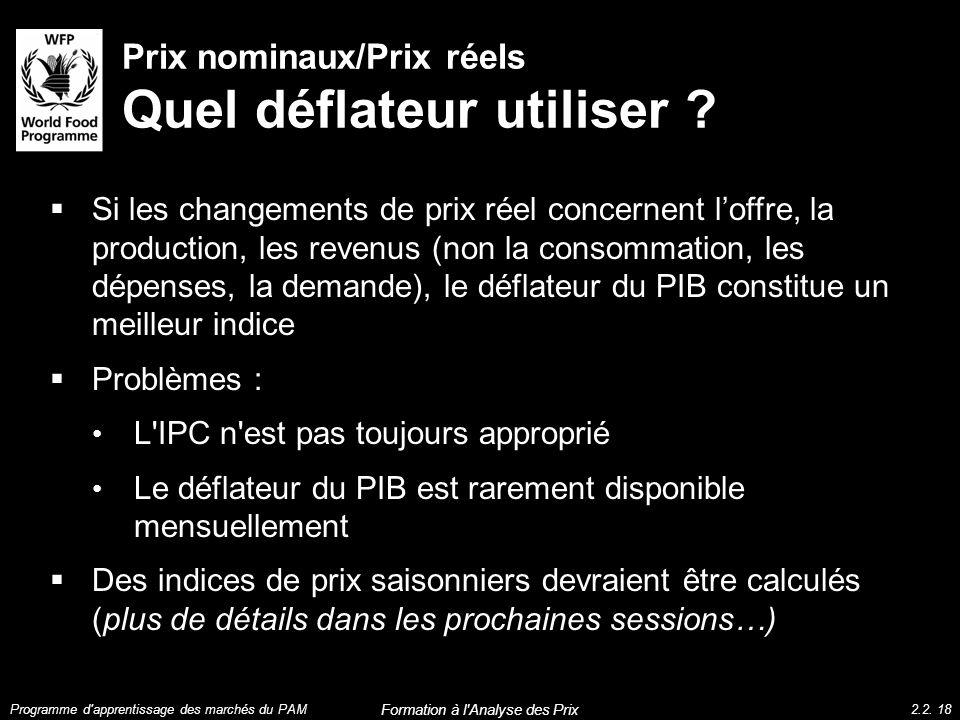 Prix nominaux/Prix réels Quel déflateur utiliser ? Si les changements de prix réel concernent loffre, la production, les revenus (non la consommation,