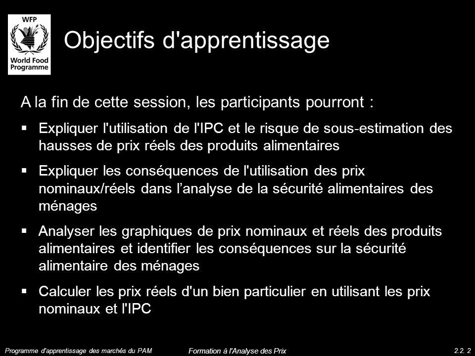 Objectifs d'apprentissage A la fin de cette session, les participants pourront : Expliquer l'utilisation de l'IPC et le risque de sous-estimation des