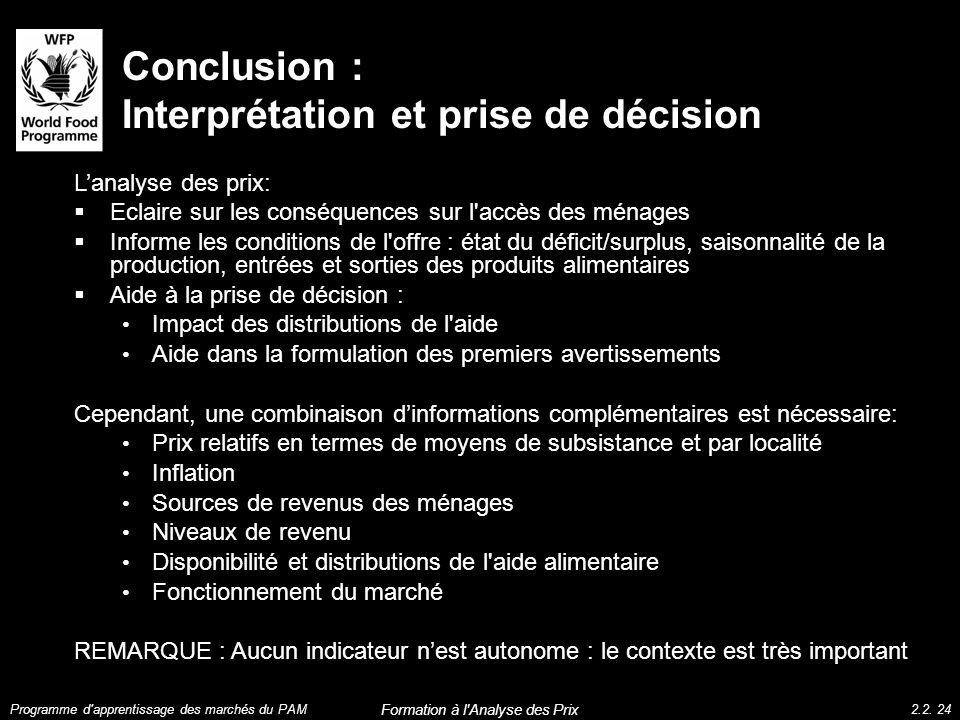 Conclusion : Interprétation et prise de décision Lanalyse des prix: Eclaire sur les conséquences sur l'accès des ménages Informe les conditions de l'o
