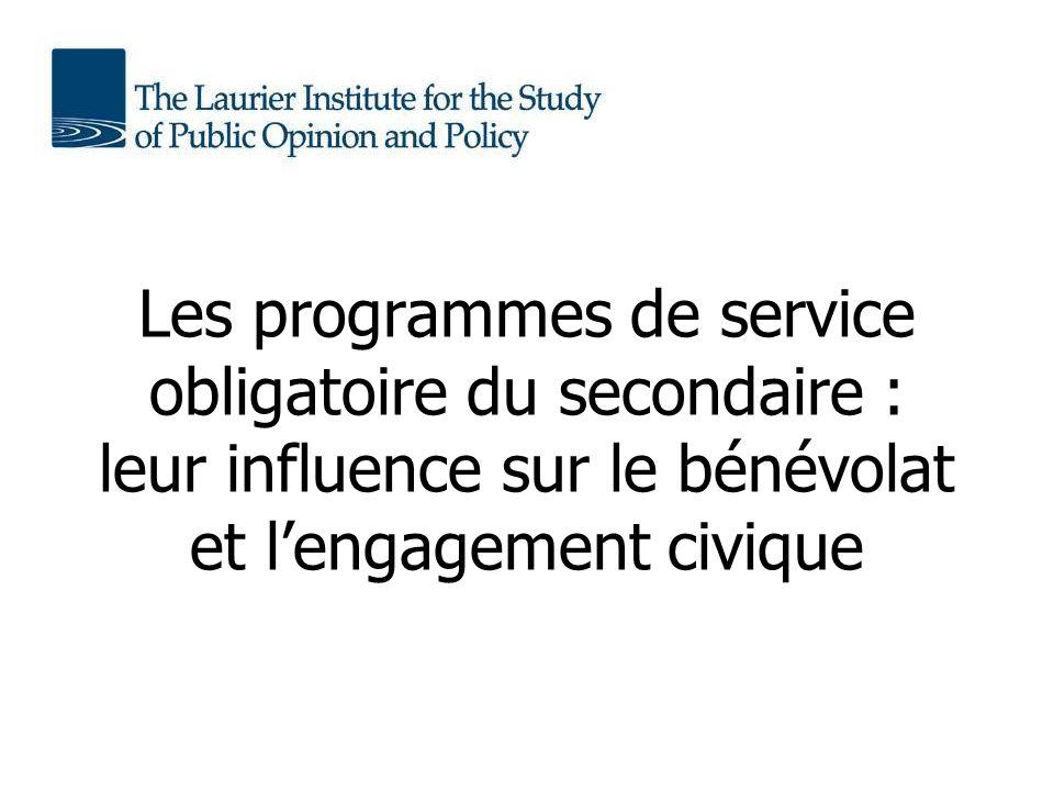 Les programmes de service obligatoire du secondaire : leur influence sur le bénévolat et lengagement civique