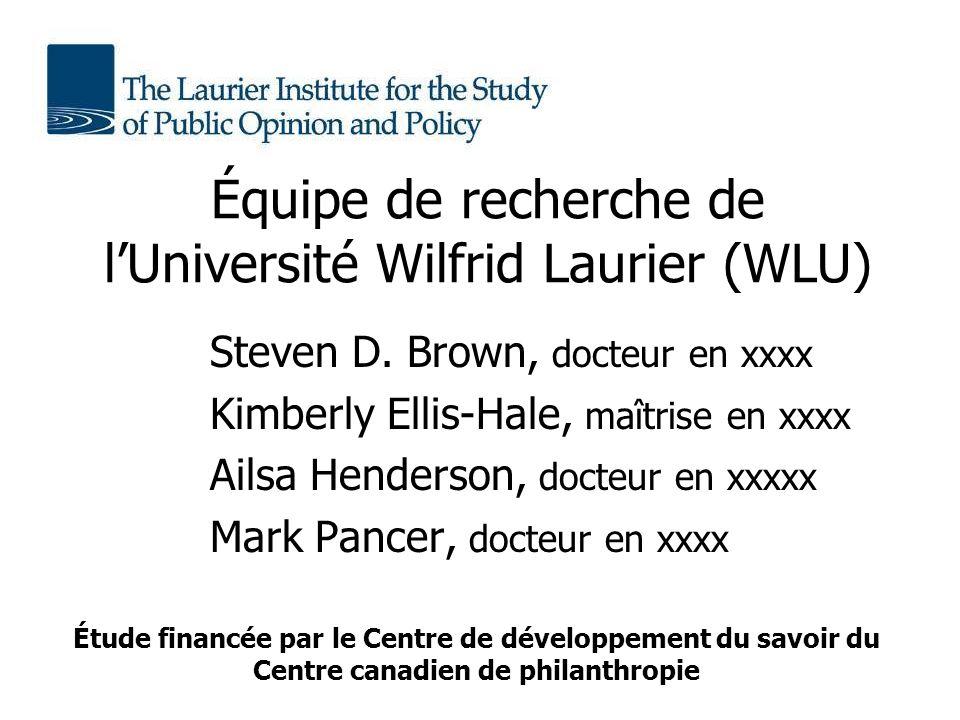 Équipe de recherche de lUniversité Wilfrid Laurier (WLU) Steven D.