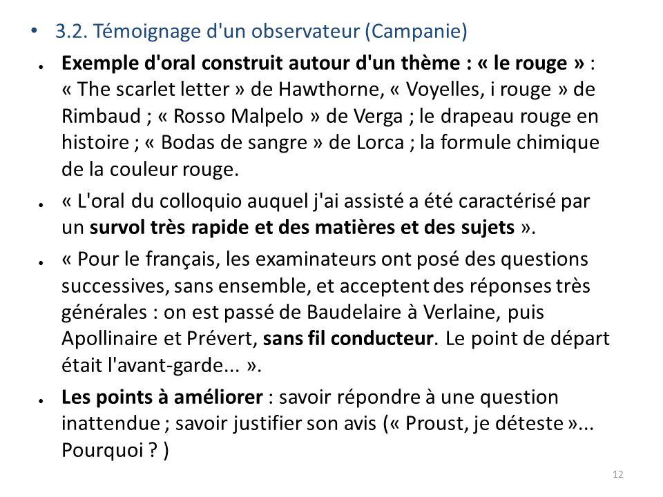 3.2. Témoignage d'un observateur (Campanie) Exemple d'oral construit autour d'un thème : « le rouge » : « The scarlet letter » de Hawthorne, « Voyelle