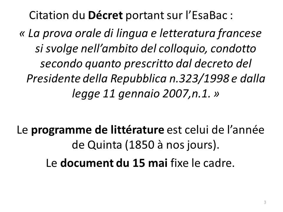 Citation du Décret portant sur lEsaBac : « La prova orale di lingua e letteratura francese si svolge nellambito del colloquio, condotto secondo quanto
