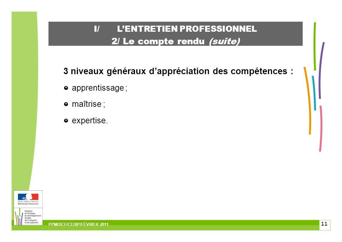 11 I/LENTRETIEN PROFESSIONNEL 2/ Le compte rendu (suite) 3 niveaux généraux dappréciation des compétences : apprentissage ; maîtrise ; expertise.