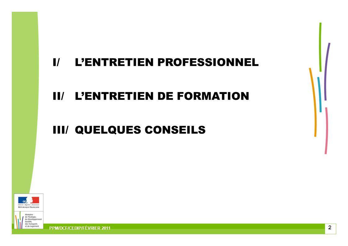 2 PPM/DCF/CEDIP/FÉVRIER 2011 I/LENTRETIEN PROFESSIONNEL II/LENTRETIEN DE FORMATION III/QUELQUES CONSEILS