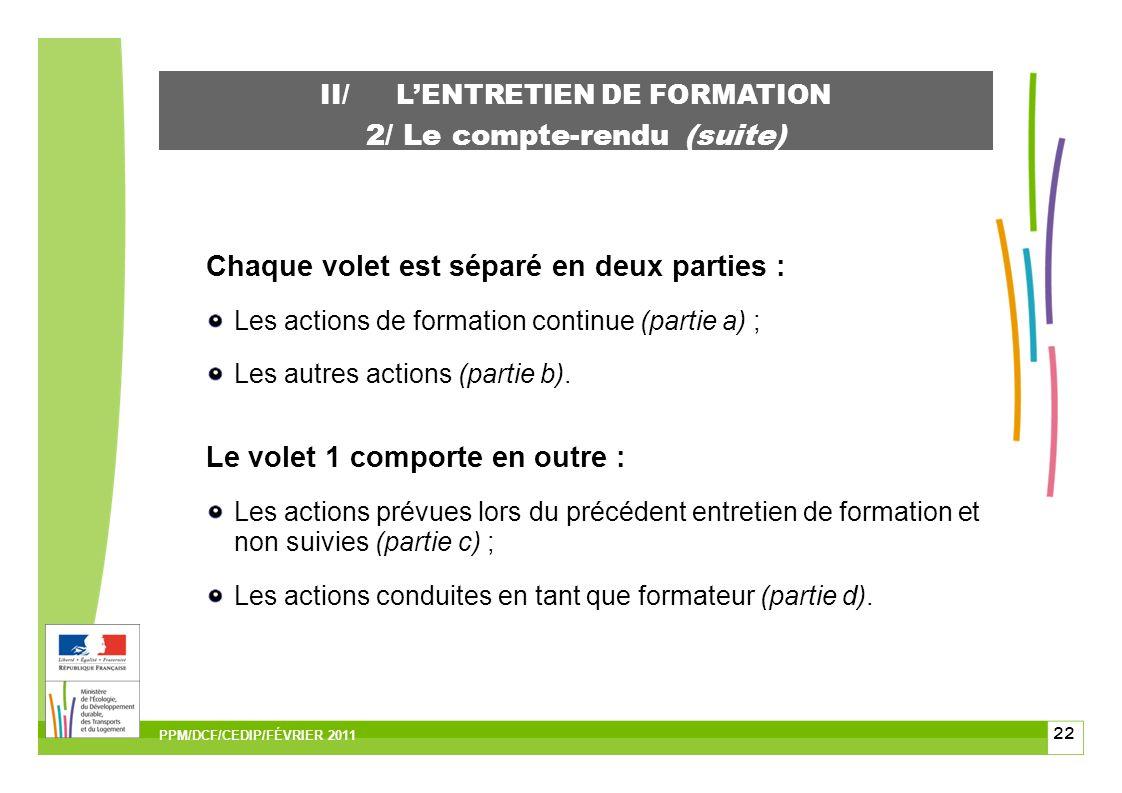 22 II/LENTRETIEN DE FORMATION 2/ Le compte-rendu (suite) Chaque volet est séparé en deux parties : Les actions de formation continue (partie a) ; Les autres actions (partie b).