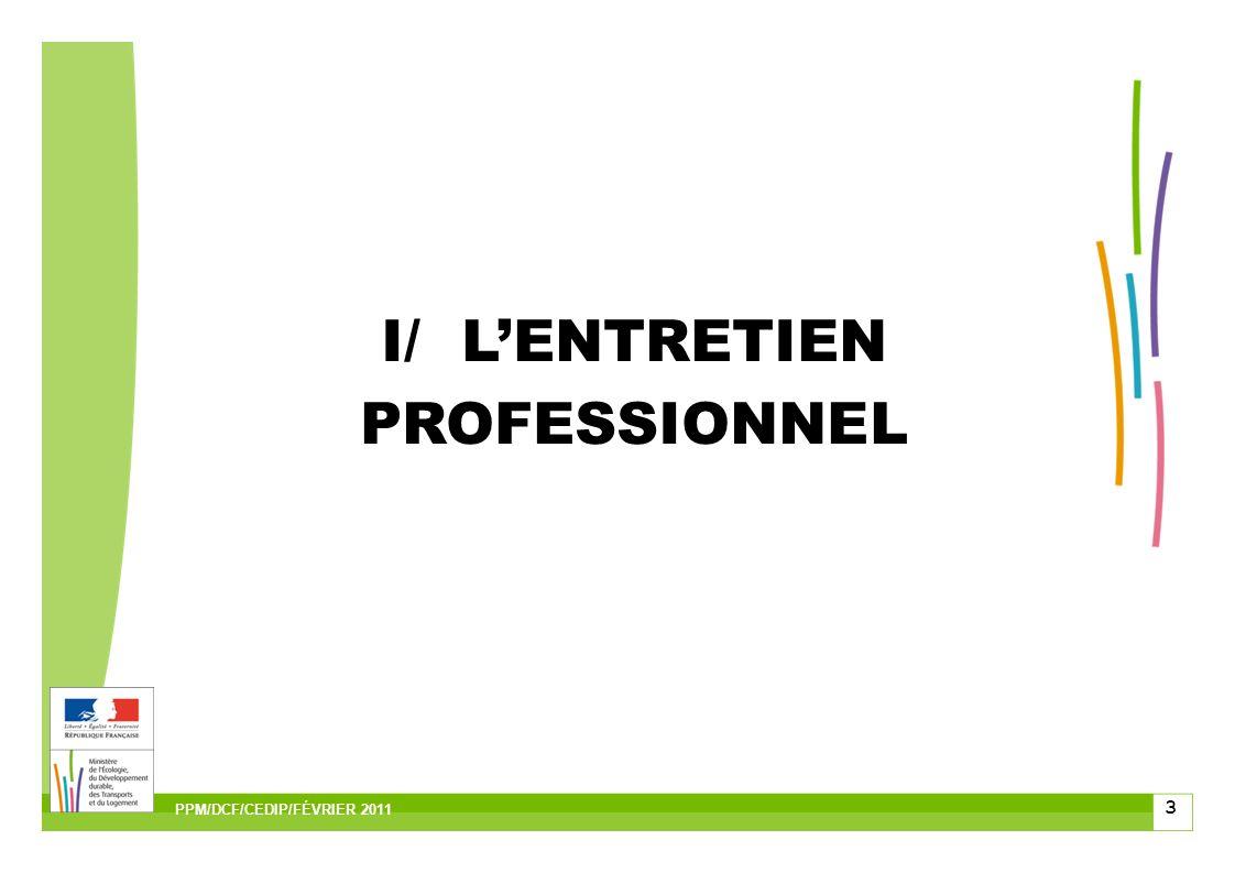 4 I.1/Son contenu I.2/Le compte rendu I.3/Les recours II/LENTRETIEN PROFESSIONNEL PPM/DCF/CEDIP/FÉVRIER 2011