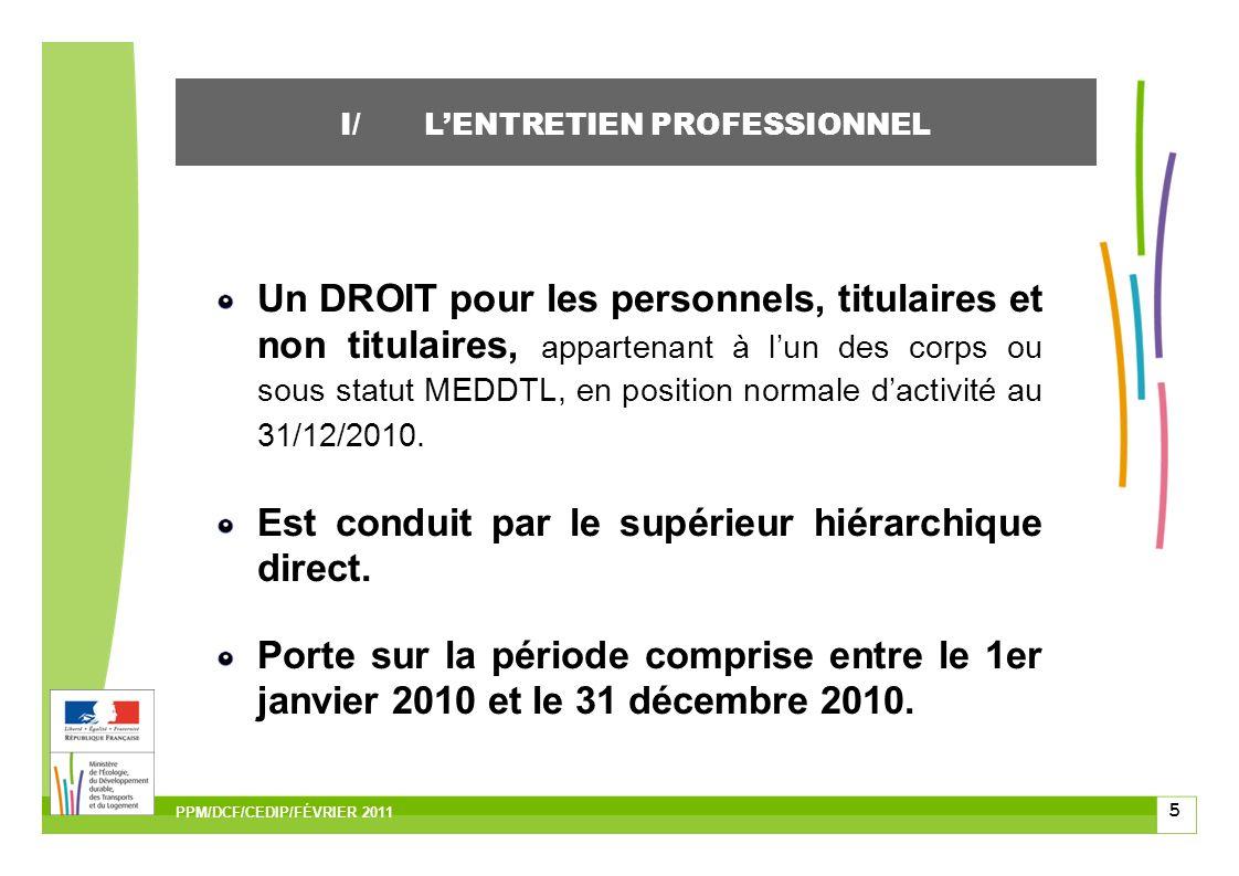5 Un DROIT pour les personnels, titulaires et non titulaires, appartenant à lun des corps ou sous statut MEDDTL, en position normale dactivité au 31/12/2010.