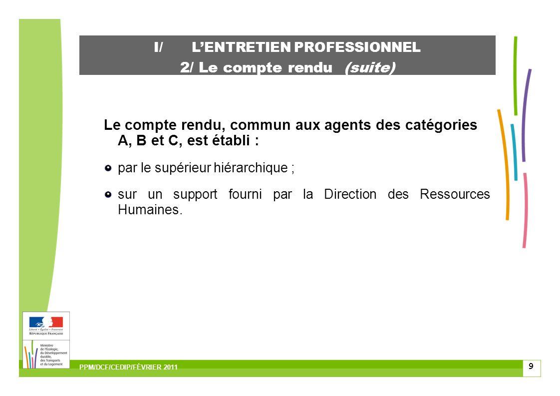 9 I/LENTRETIEN PROFESSIONNEL 2/ Le compte rendu (suite) Le compte rendu, commun aux agents des catégories A, B et C, est établi : par le supérieur hiérarchique ; sur un support fourni par la Direction des Ressources Humaines.