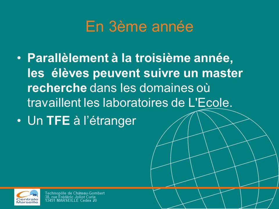 Technopôle de Château-Gombert 38, rue Frédéric Joliot Curie 13451 MARSEILLE Cedex 20 En 3ème année Parallèlement à la troisième année, les élèves peuv