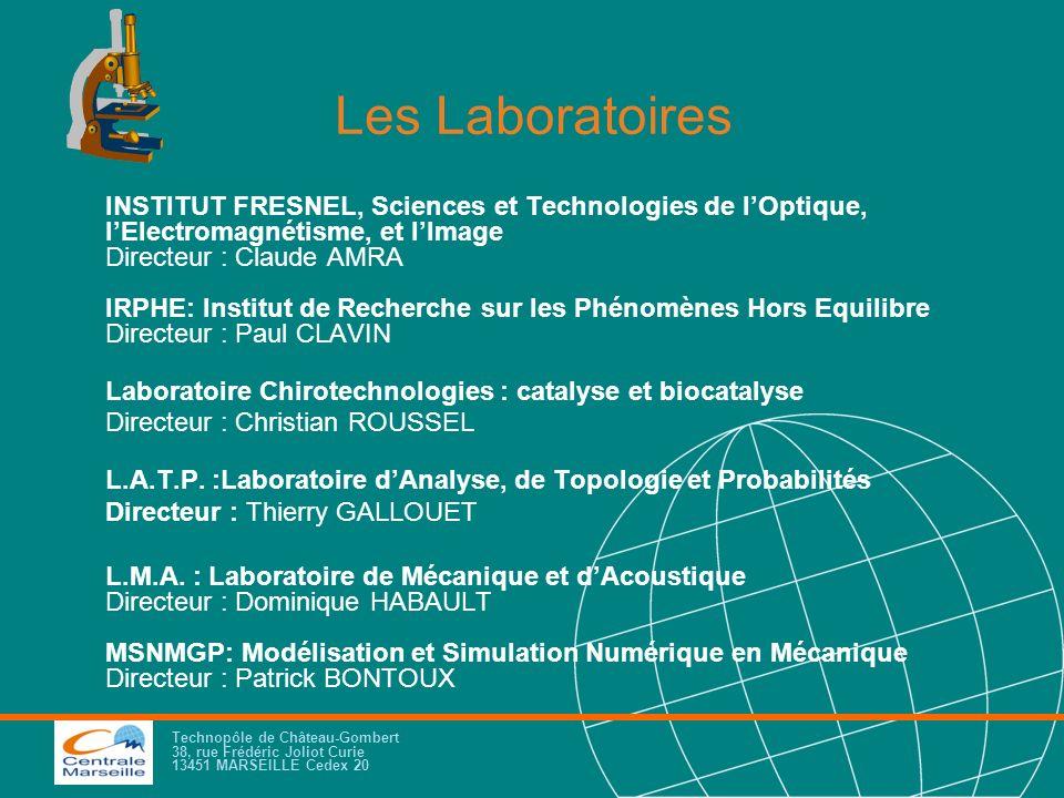 Technopôle de Château-Gombert 38, rue Frédéric Joliot Curie 13451 MARSEILLE Cedex 20 Les Laboratoires INSTITUT FRESNEL, Sciences et Technologies de lO