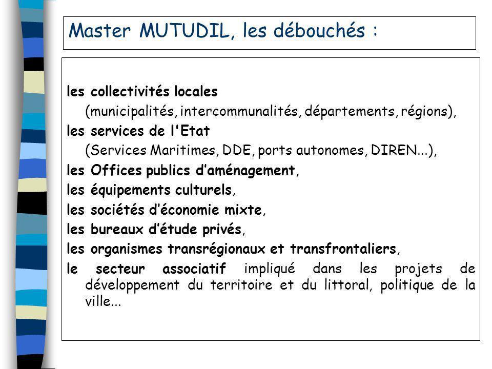 Master MUTUDIL, les débouchés : les collectivités locales (municipalités, intercommunalités, départements, régions), les services de l'Etat (Services