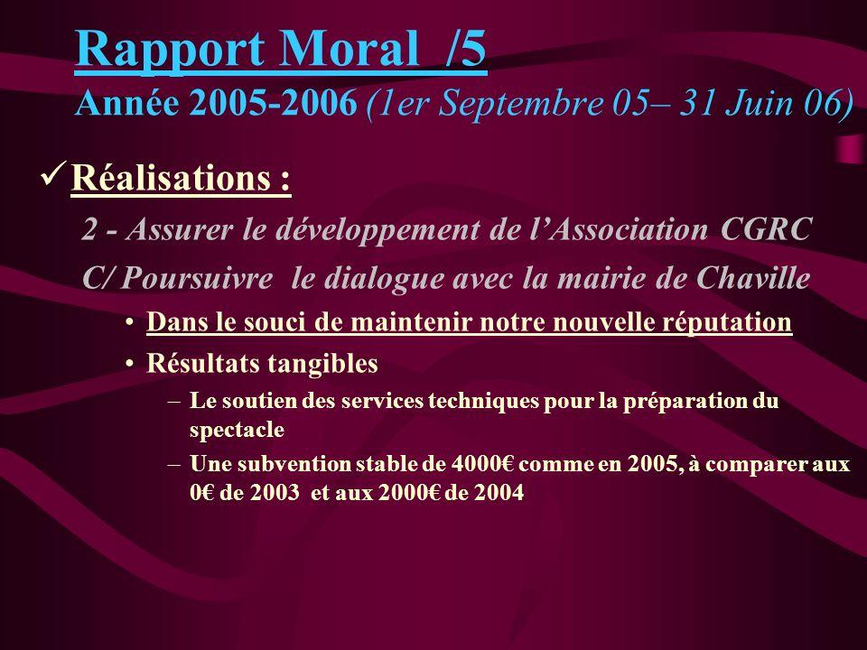 Rapport Moral /5 Année 2005-2006 (1er Septembre 05– 31 Juin 06) Réalisations : 2 - Assurer le développement de lAssociation CGRC C/ Poursuivre le dial