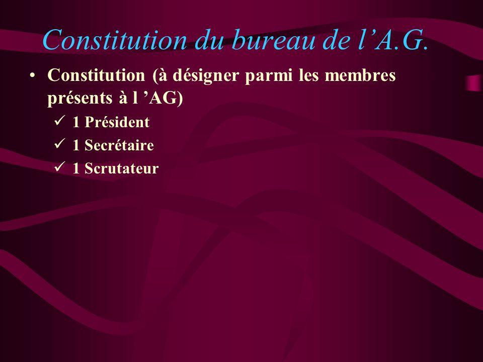 Constitution du bureau de lA.G. Constitution (à désigner parmi les membres présents à l AG) 1 Président 1 Secrétaire 1 Scrutateur