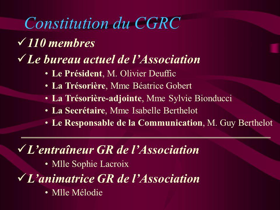 Constitution du CGRC 110 membres Le bureau actuel de lAssociation Le Président, M. Olivier Deuffic La Trésorière, Mme Béatrice Gobert La Trésorière-ad