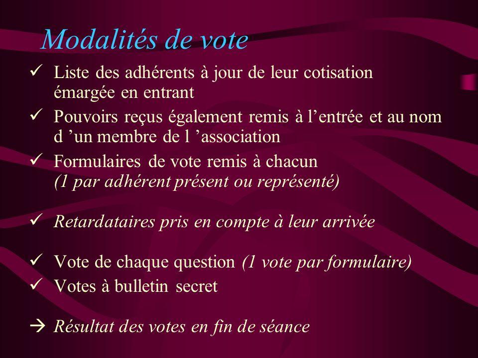 Modalités de vote Liste des adhérents à jour de leur cotisation émargée en entrant Pouvoirs reçus également remis à lentrée et au nom d un membre de l