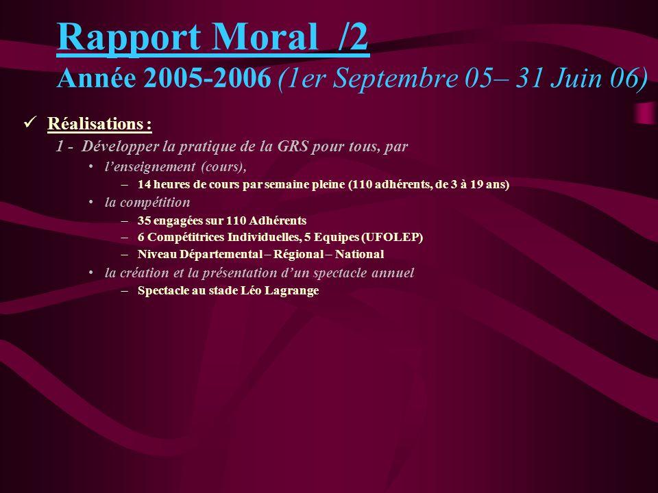 Réalisations : 2 - Assurer le développement de lAssociation CGRC A/ Face aux changements rapides, pari sur lavenir Rapport Moral /3 Année 2005-2006 (1er Septembre 05– 31 Juin 06)