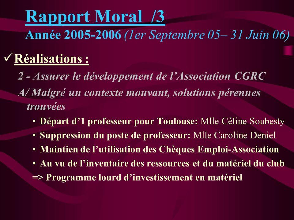 Réalisations : 2 - Assurer le développement de lAssociation CGRC A/ Malgré un contexte mouvant, solutions pérennes trouvées Départ d1 professeur pour
