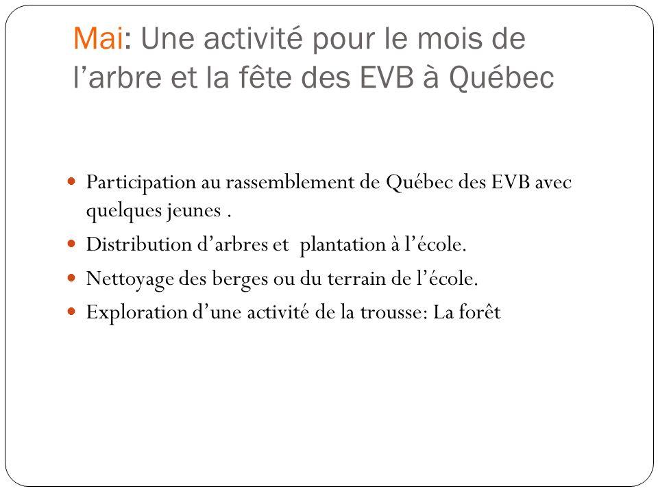 Mai: Une activité pour le mois de larbre et la fête des EVB à Québec Participation au rassemblement de Québec des EVB avec quelques jeunes. Distributi