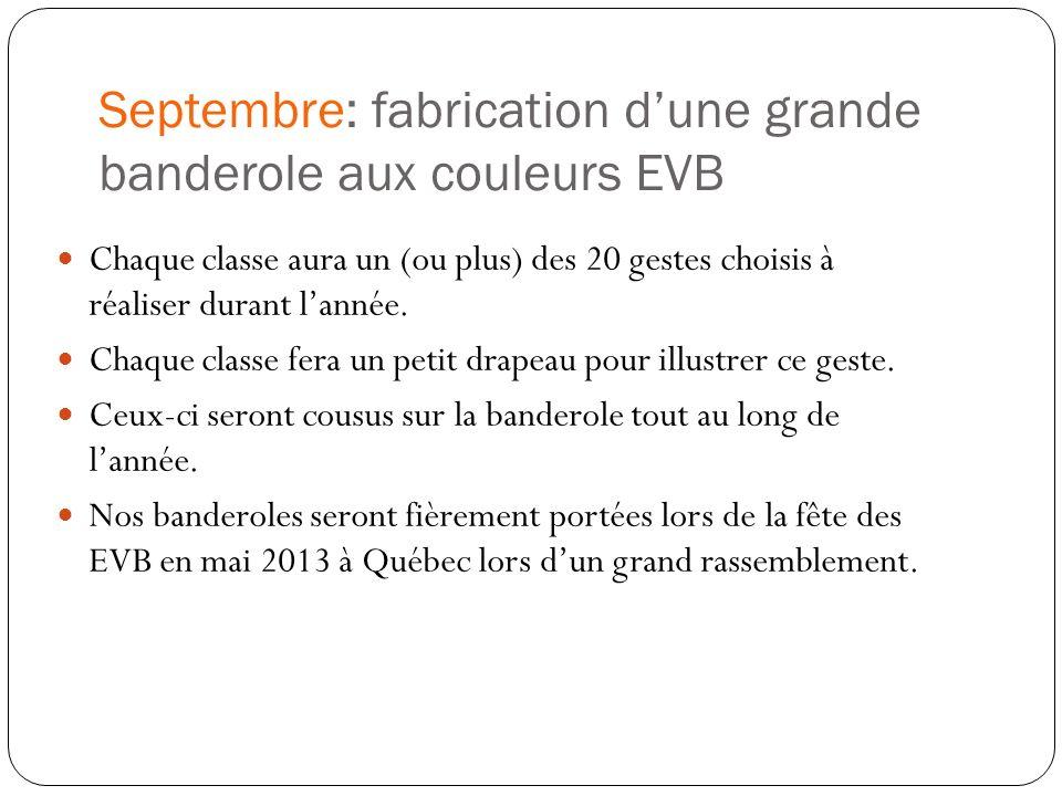 Septembre: fabrication dune grande banderole aux couleurs EVB Chaque classe aura un (ou plus) des 20 gestes choisis à réaliser durant lannée. Chaque c