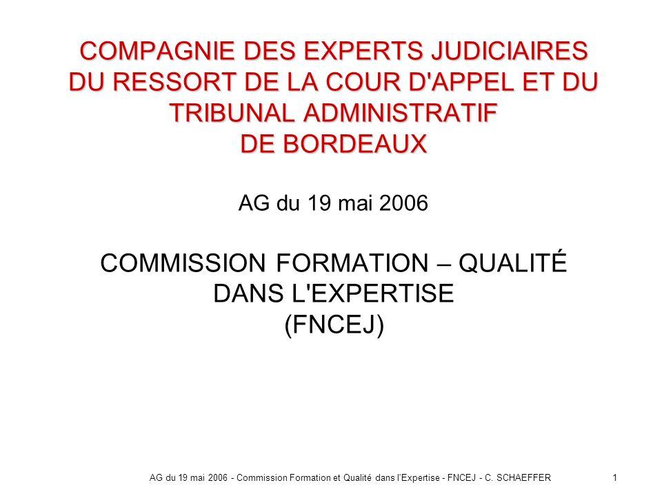1AG du 19 mai 2006 - Commission Formation et Qualité dans l'Expertise - FNCEJ - C. SCHAEFFER COMPAGNIE DES EXPERTS JUDICIAIRES DU RESSORT DE LA COUR D